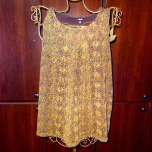 Rafaella Brown & Gold Sleeveless Blouse